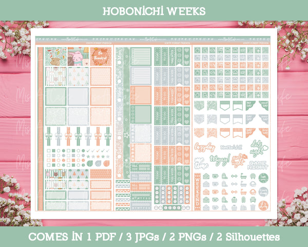 Printable Forest Friends Weekly Kit - Hobonichi Weeks - Miso Art Cafe