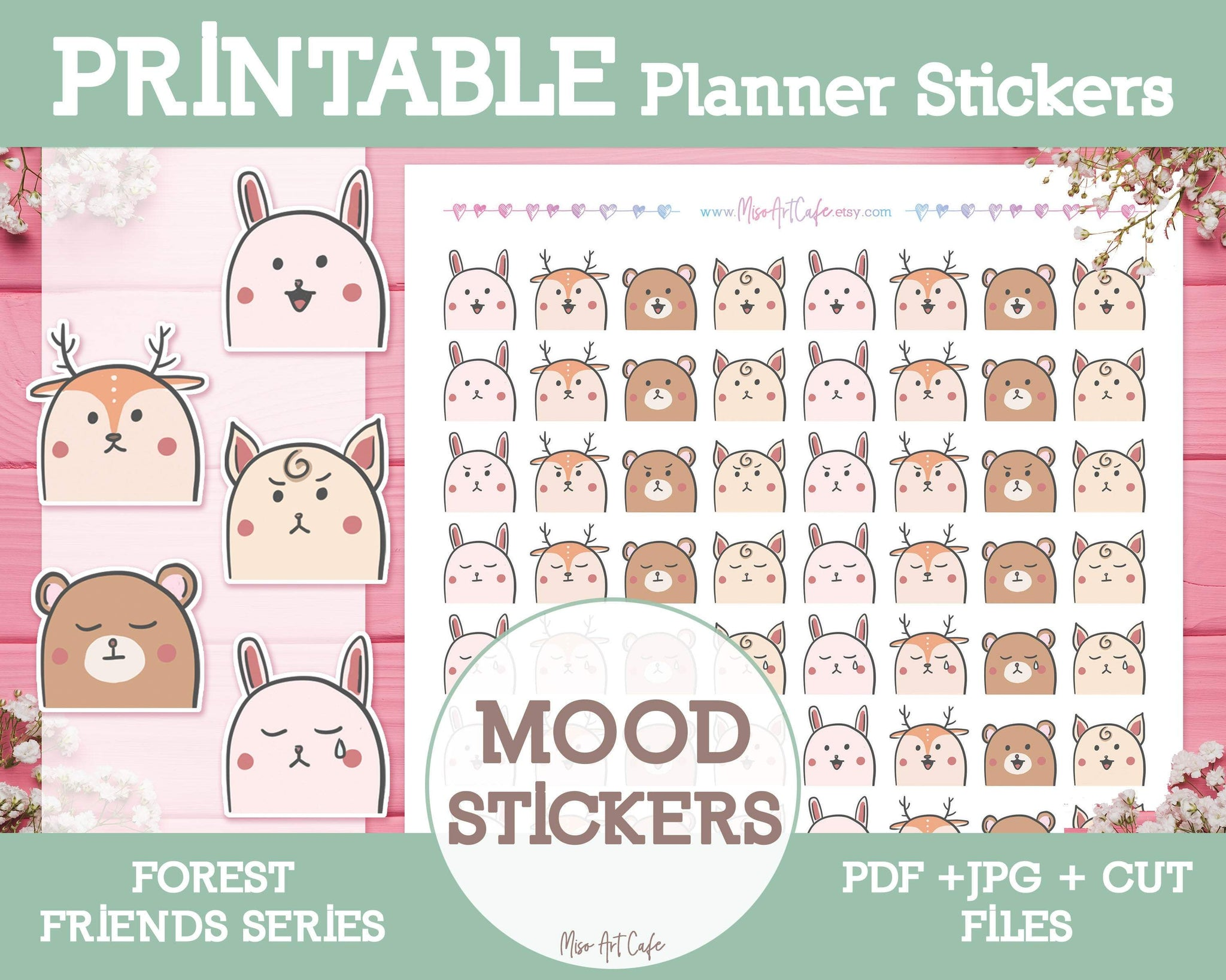 Printable Mood Stickers - Forest Friends Planner Stickers - Miso Art Cafe