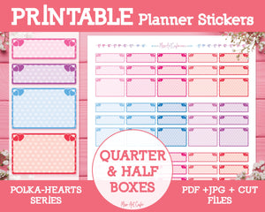 Printable Quarter & Half Functional Boxes - Polka Hearts Planner Stickers - Miso Art Cafe