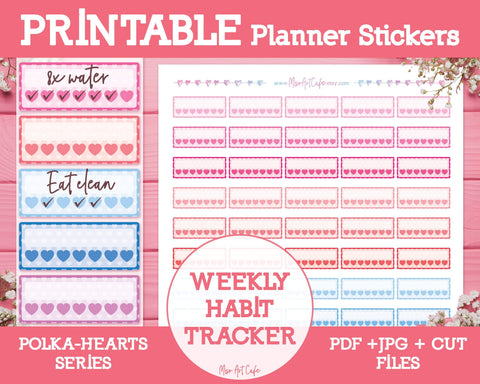 Printable Weekly Habit Trackers - Polka Hearts Planner Stickers - Miso Art Cafe