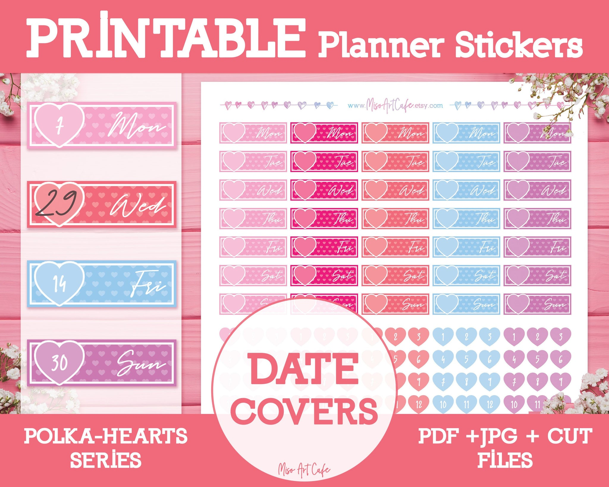 Printable Date Covers - Polka Hearts Planner Stickers - Miso Art Cafe