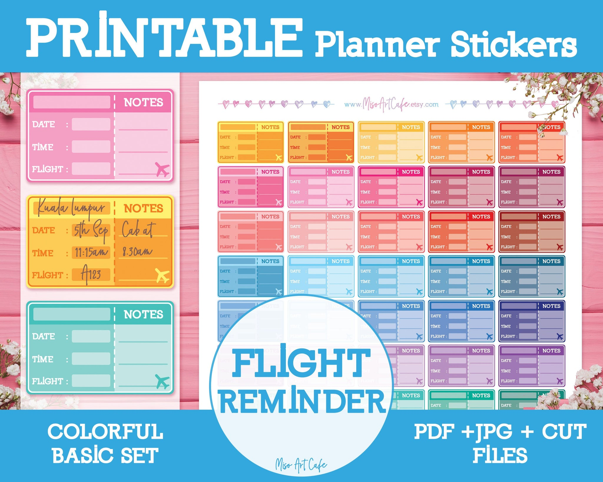 Printable Flight Reminders - Colorful Basic Planner Stickers - Miso Art Cafe