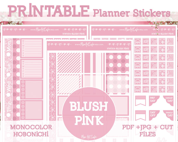 Printable Blush Pink Weekly Kit - Hobonichi Weeks - Miso Art Cafe