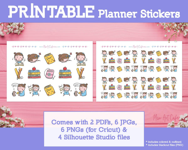 Printable Study Doodles - Hand Drawn Planner Stickers - Miso Art Cafe