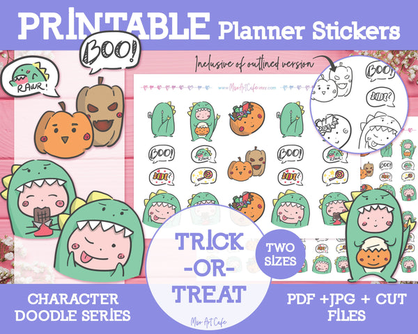 Printable Trick-or-Treat Doodles - Hand Drawn Planner Stickers - Miso Art Cafe Stickers for Planners