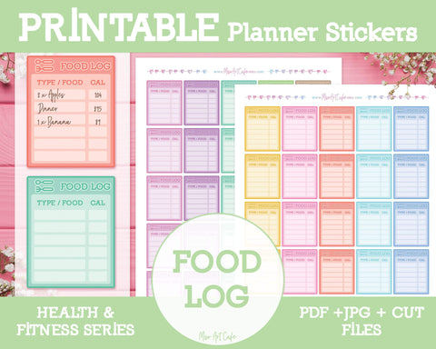 Printable Food Logs - Health & Fitness Planner Stickers - Miso Art Cafe