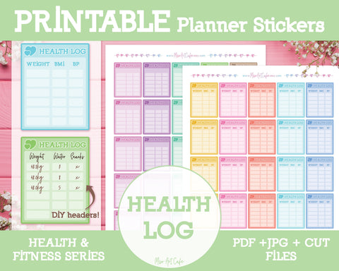 Printable Health Logs - Health & Fitness Planner Stickers - Miso Art Cafe