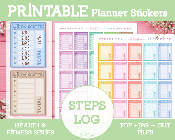 Printable Step Logs - Health & Fitness Planner Stickers - Miso Art Cafe Stickers for Planners
