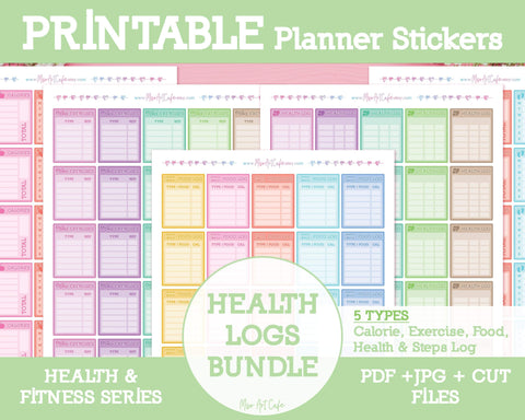 Printable 5-in-1 Health Logs Bundle - Health & Fitness Planner Stickers - Miso Art Cafe
