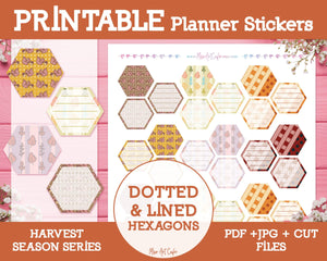Printable Dotted & Lined Hexagons - Harvest Season Planner Stickers - Miso Art Cafe