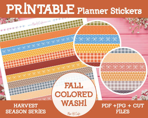 Printable Fall Colored Pattern Washi Tape - Harvest Season Planner Stickers - Miso Art Cafe