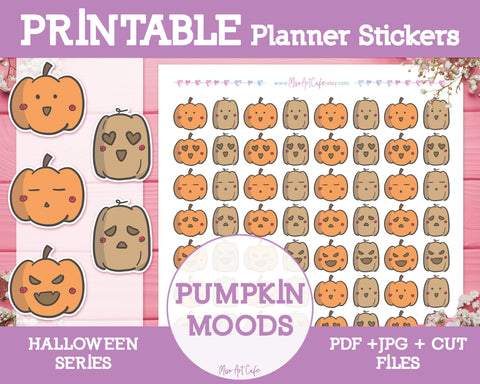 Printable Halloween Pumpkin Moods Doodles - Hand Drawn Planner Stickers - Miso Art Cafe