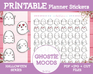 Printable Halloween Ghost Moods Doodles - Hand Drawn Planner Stickers - Miso Art Cafe