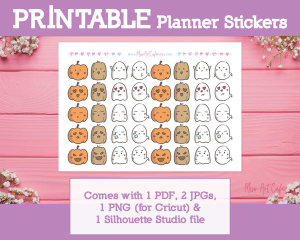 Printable Halloween Pumpkin & Ghost Moods Doodles - Hand Drawn Planner Stickers - Miso Art Cafe