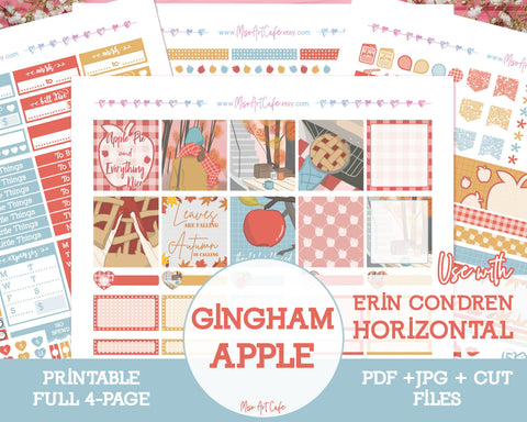 Printable Gingham Apple Weekly Kit - Erin Condren Horizontal - Miso Art Cafe