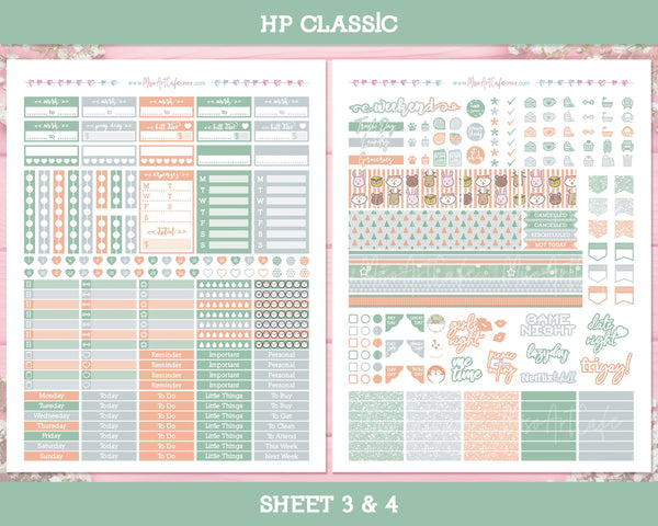 Printable Forest Friends Weekly Kit - Classic Happy Planner - Miso Art Cafe