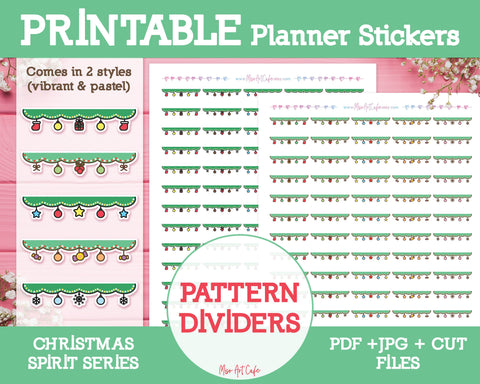 Printable Christmas Pattern Dividers - Christmas Spirit Planner Stickers - Miso Art Cafe