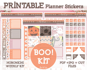 Printable Halloween Boo Weekly Kit - Hobonichi Weeks - Miso Art Cafe