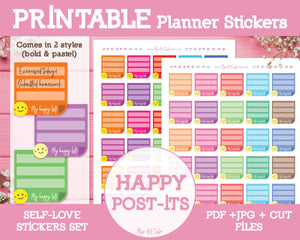 Printable Happy Notes - Self Love Planner Stickers - Miso Art Cafe