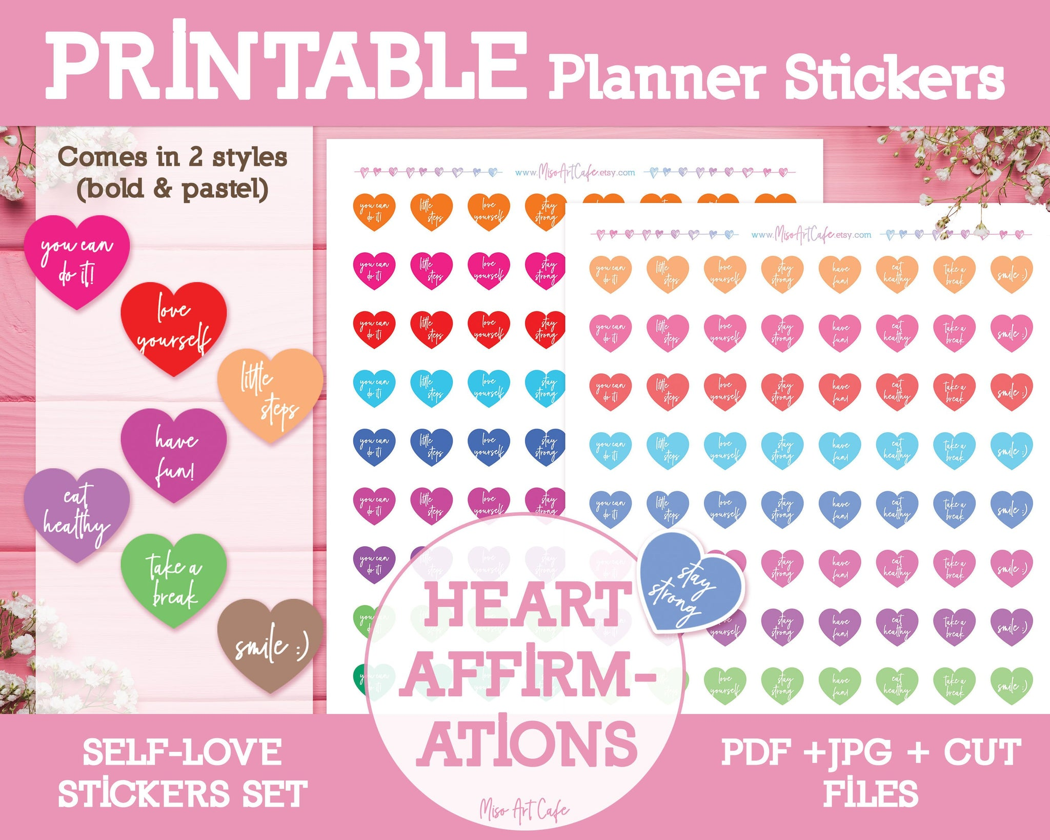 Printable Heart Affirmations - Self Love Planner Stickers - Miso Art Cafe