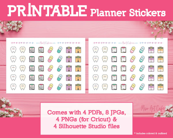 Printable Medical Bundle Icons - Cute Vector Icon Planner Stickers - Miso Art Cafe Stickers for Planners