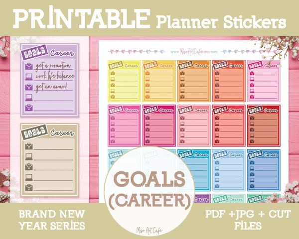 Printable Goals (Career) Lists - Brand New Year Planner Stickers - Miso Art Cafe