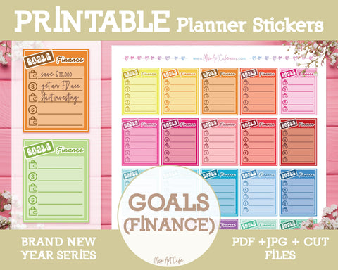 Printable Goals (Finance) Lists - Brand New Year Planner Stickers - Miso Art Cafe