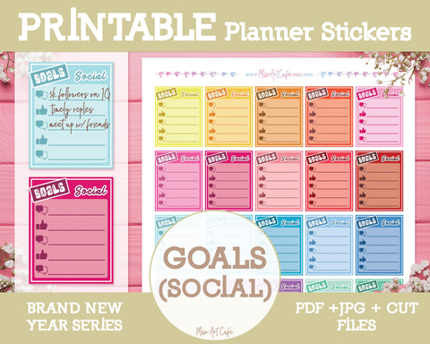 Printable Goals (Social) Lists - Brand New Year Planner Stickers - Miso Art Cafe