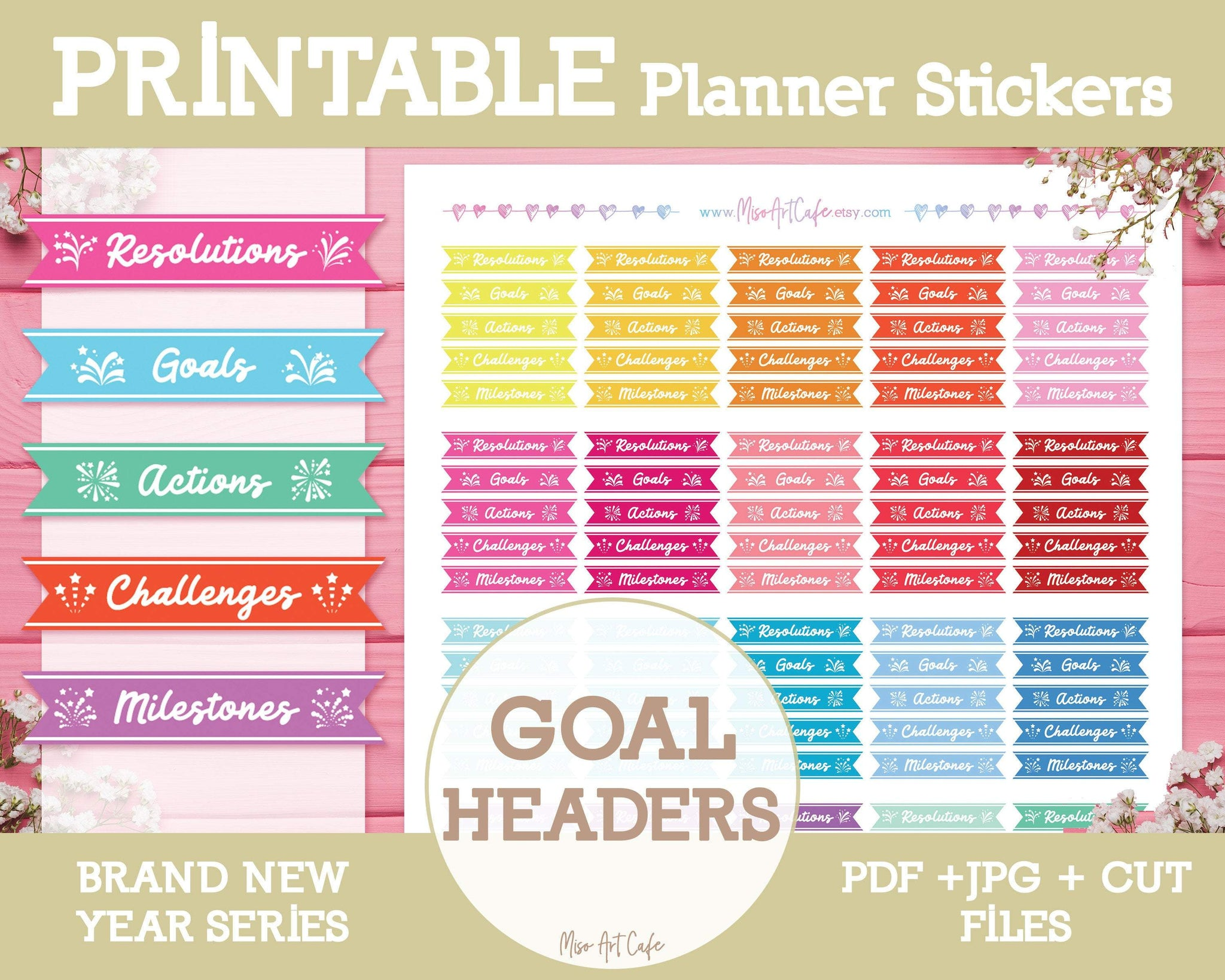 Printable Goal Headers - Brand New Year Planner Stickers - Miso Art Cafe