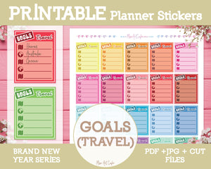 Printable Goals (Travel) Lists - Brand New Year Planner Stickers - Miso Art Cafe