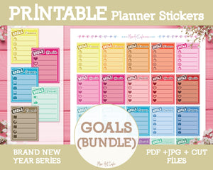 Printable Goals Bundle - Brand New Year Planner Stickers - Miso Art Cafe