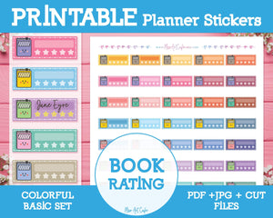 Printable Book Reviews - Colorful Basic Planner Stickers - Miso Art Cafe