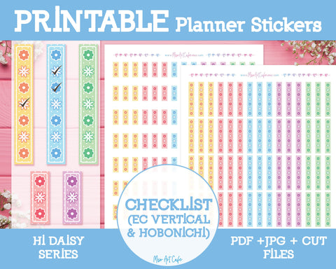 Printable Daisy Checklists - Hi Daisy Planner Stickers - Miso Art Cafe