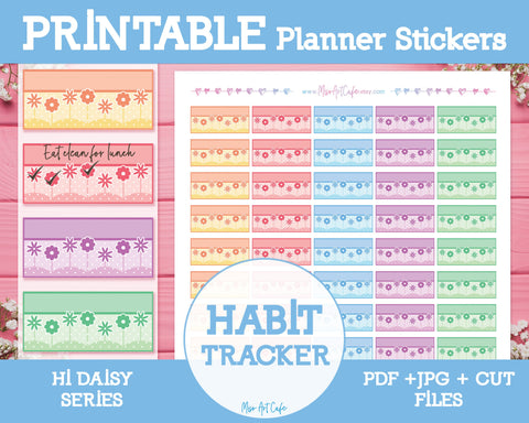 Printable Weekly Habit Trackers - Hi Daisy Planner Stickers - Miso Art Cafe Stickers for Planners