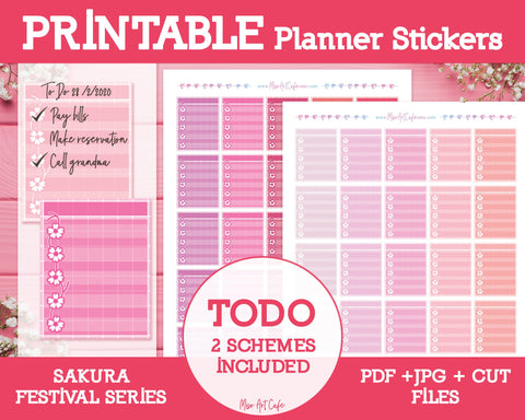 Printable To Do Lists - Sakura Festival Planner Stickers - Miso Art Cafe Stickers for Planners