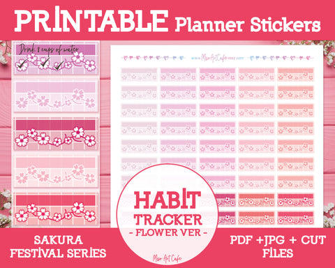 Printable Weekly Habit Trackers - Sakura Festival Planner Stickers - Miso Art Cafe Stickers for Planners