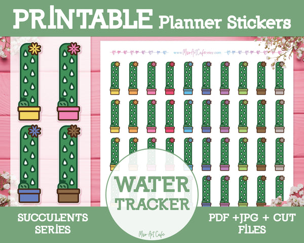 Printable Water Trackers - Succulents Planner Stickers - Miso Art Cafe Stickers for Planners