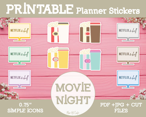 Printable Movie Night Icons - Simple Vector Icon Planner Stickers - Miso Art Cafe Stickers for Planners