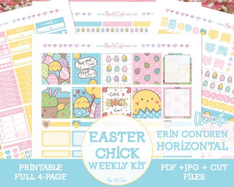 Printable Easter Chick Weekly Kit - Erin Condren Horizontal - Miso Art Cafe