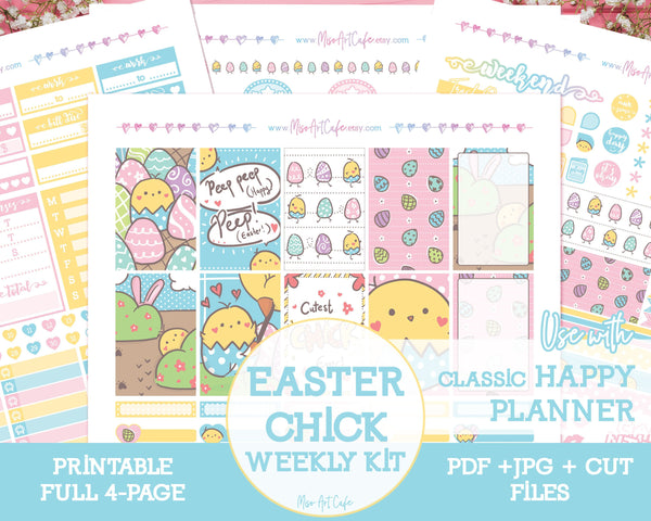 Printable Easter Chick Weekly Kit - Classic Happy Planner - Miso Art Cafe