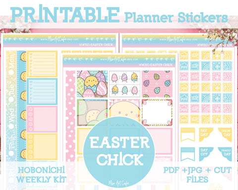 Printable Easter Chick Weekly Kit - Hobonichi Weeks - Miso Art Cafe