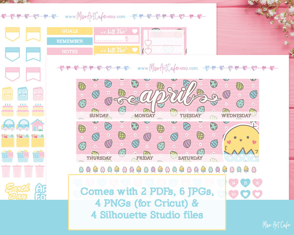 Printable APRIL Easter Chick Monthly Kit - Erin Condren Life Planner - Miso Art Cafe