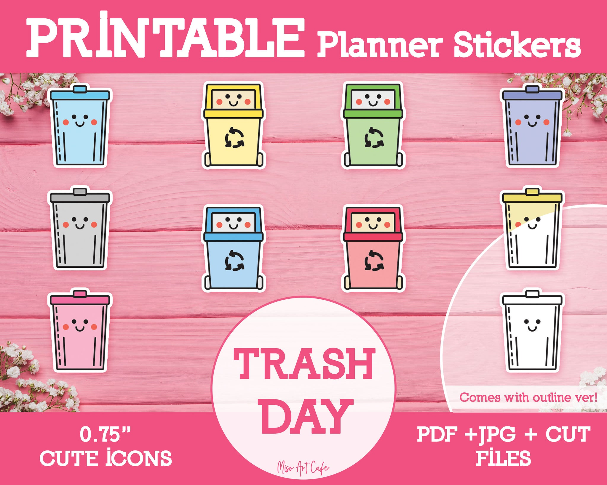 Printable Trash Day Icons - Cute Vector Icon Planner Stickers - Miso Art Cafe Stickers for Planners