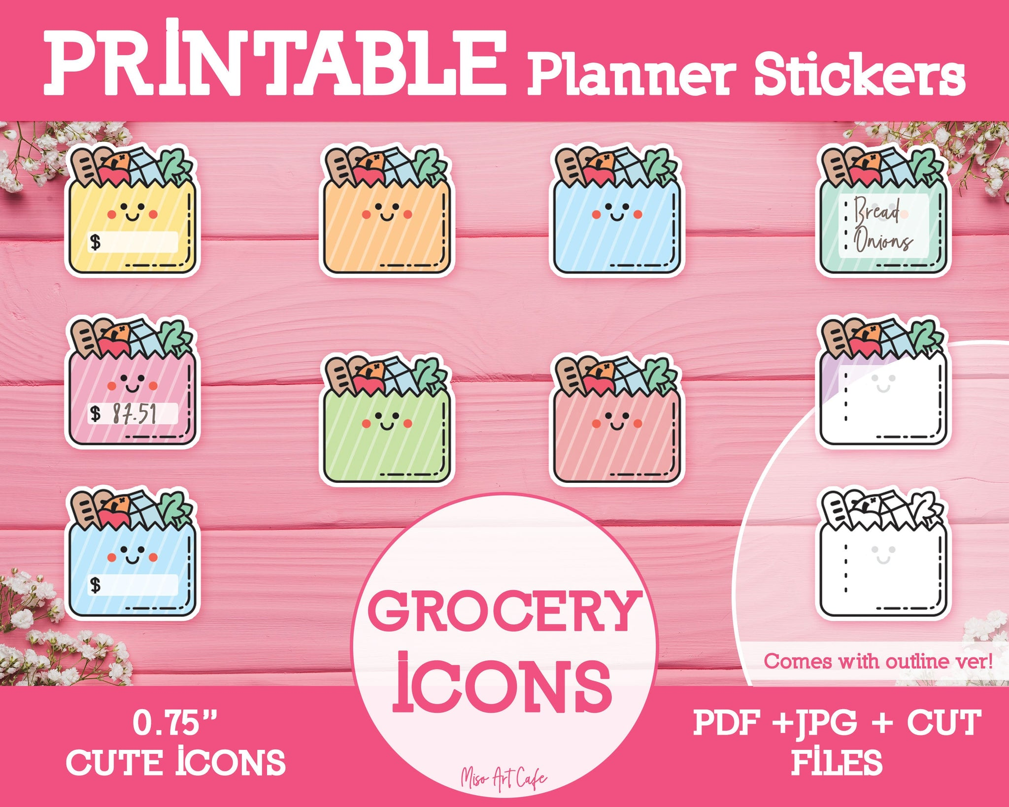 Printable Grocery List Icons - Cute Vector Icon Planner Stickers - Miso Art Cafe