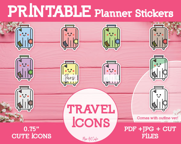 Printable Travel / Luggage Icons - Cute Vector Icon Planner Stickers - Miso Art Cafe Stickers for Planners