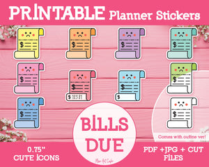 Printable Bill Payment Icons - Cute Vector Icon Planner Stickers - Miso Art Cafe