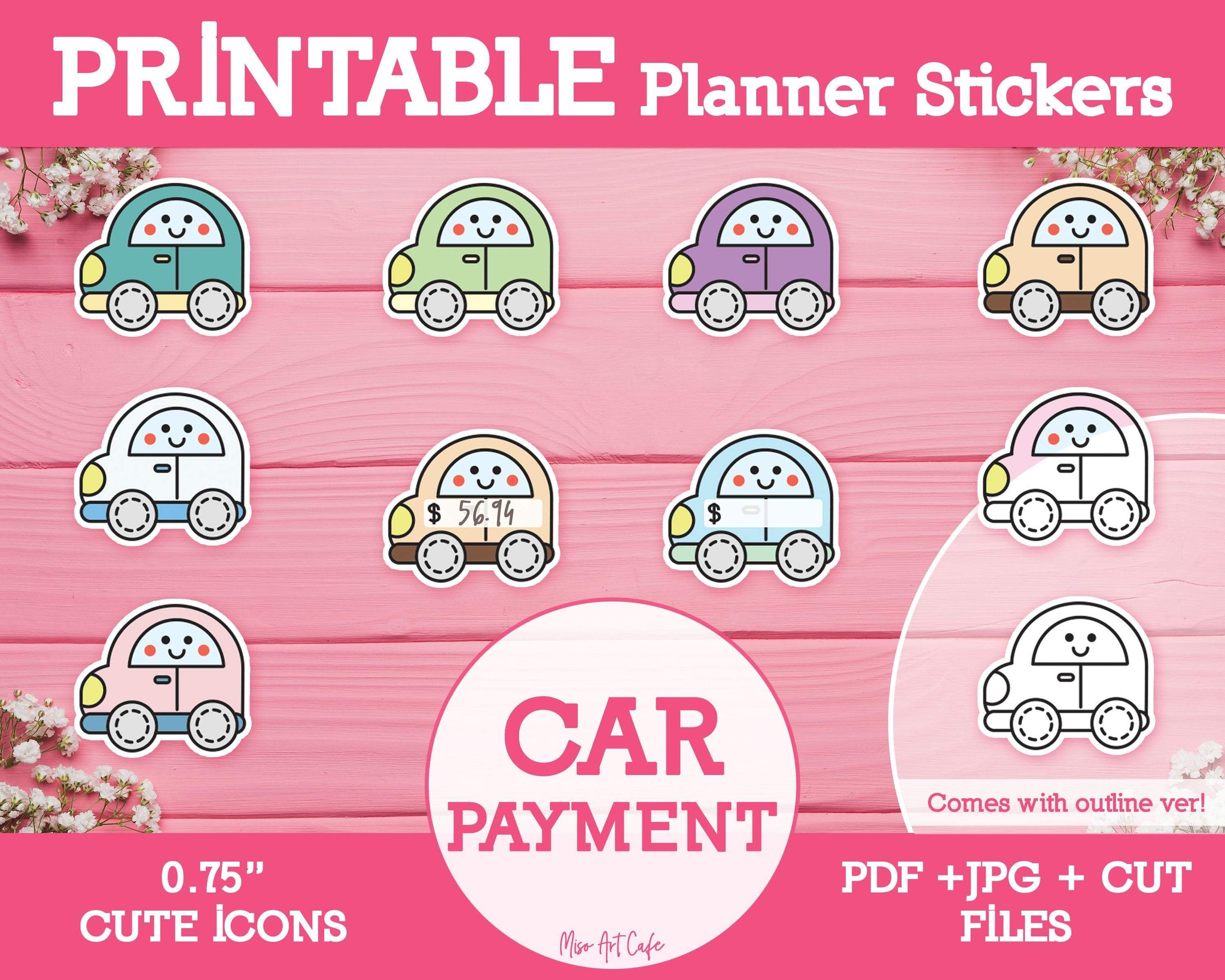 Printable Car Payment Icons - Cute Vector Icon Planner Stickers - Miso Art Cafe