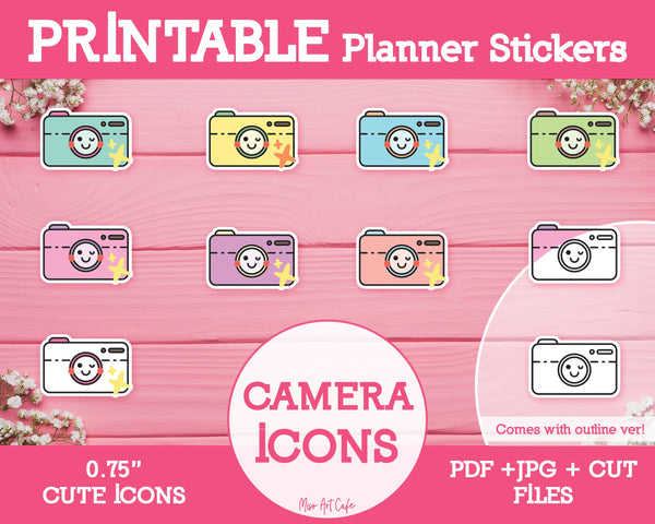 Printable Camera Icons - Cute Vector Icon Planner Stickers - Miso Art Cafe