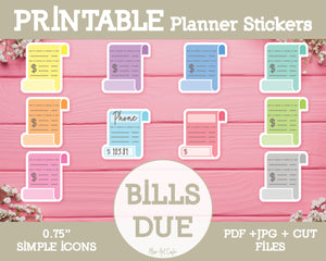 Printable Bills Due Icons - Simple Vector Icon Planner Stickers - Miso Art Cafe