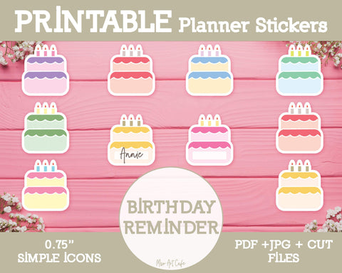 Printable Birthday Reminder Icons - Simple Vector Icon Planner Stickers - Miso Art Cafe